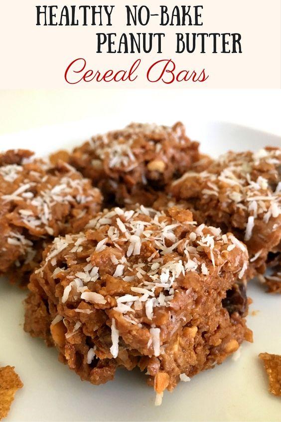 Healthy No Bake Peanut Butter Cereal Bars